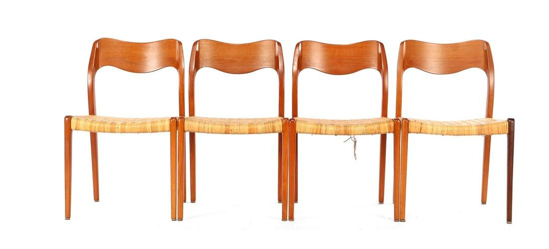Niels Otto Moller (1920-1982) 4 teak chairs with wicker