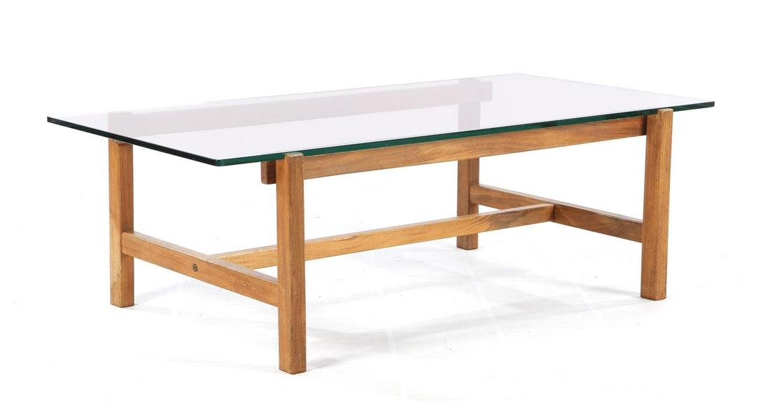 Coffee table, tempered glass top on teak base, 39 cm