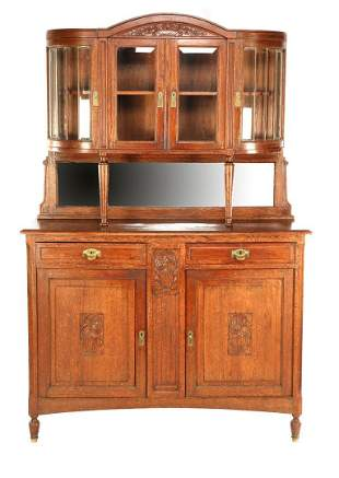 French oak 2-part sideboard with lattice work