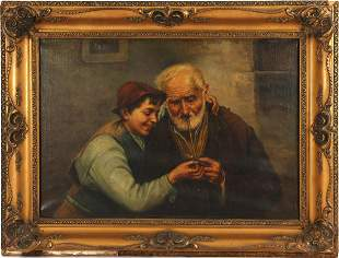 Anonymous, old man with pipe and boy