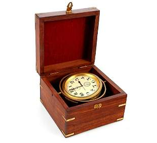 Longines ship's clock in mahogany box