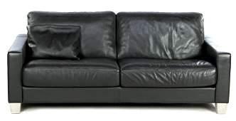 Black leather De Sede 2-seater sofa