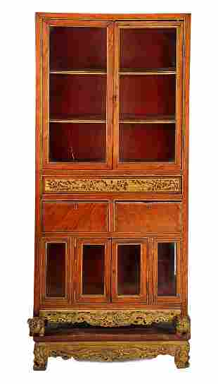 Chinese rosewood cabinet with 4 glazed doors