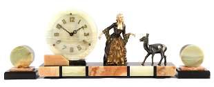 3-piece Art Deco clock set consisting of a mantel clock