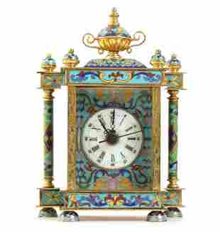 Brass table clock with quartz movement, richly
