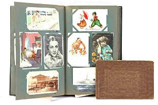 Old postcard album with approx. 370 different postcards