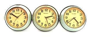 3 Seiko Japan quartz clocks