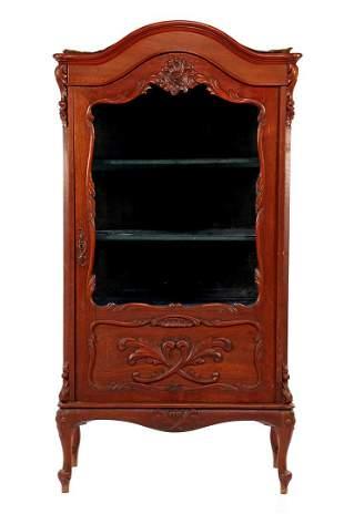 Walnut veneer Biedermeier 1-door display cabinet