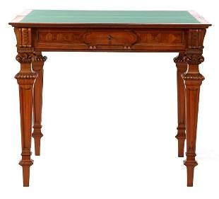 Oak and walnut veneer folding gaming table