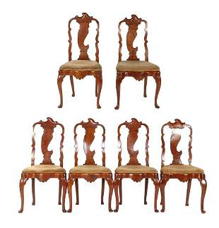 6 antique elm dining room chairs