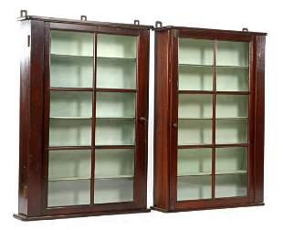 2 glazed 1-door walnut veneer hanging display cases