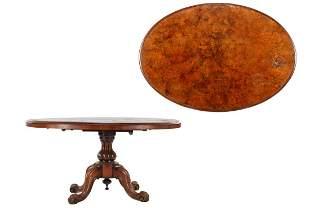 Oval burr walnut veneer column leg table