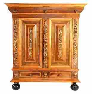 Oak with walnut veneer tendril cabinet