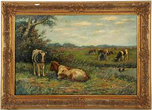 Unclearly signed, Dutch landscape with a milking farmer