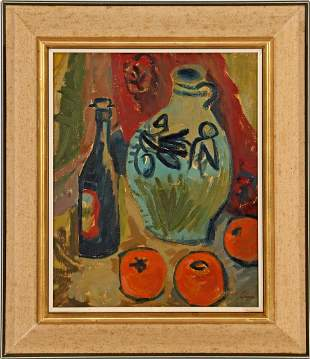 Signed Wiegers, Still life with earthenware jug