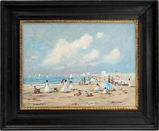 Henk Poeder, Sunny scene on the beach of Scheveningen