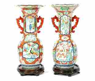 2 late 19th century Japanese porcelain collar vases