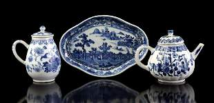 Porcelain ornate tray, mustard pot and teapot