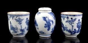 2 porcelain women's cups and 1 porcelain lidded jar