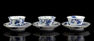 3 porcelain cups and saucers