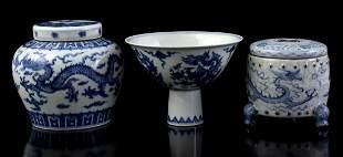 Porcelain stem cup, porcelain ginger jar and porcelain