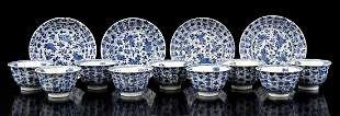 4 porcelain cups and saucers and 5 saucers