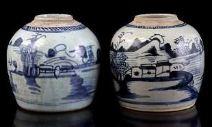 2 earthenware ginger jars