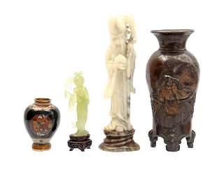 Chinese jade, stone figurine, vase and cloisonne vase