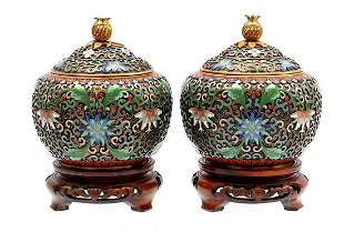 2 Chinese cloisonne beautifully decorated lidded jars