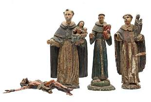 3 polychrome colored wooden statues