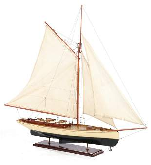 Wooden scale model sailboat