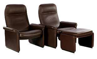 2 leather adjustable De Sede recliners and 1 footstool