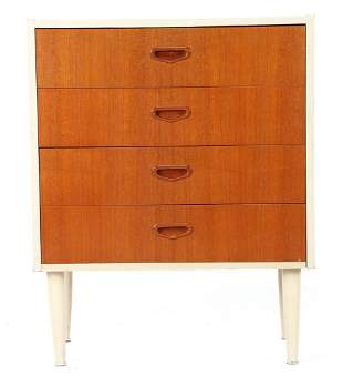 1960s white lacquered walnut veneer chest of drawers