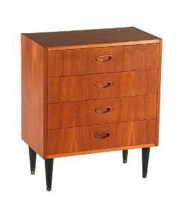teak veneer 4-drawer chest