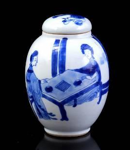 Blue and white egg-shaped porcelain tea caddy