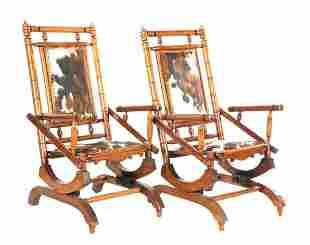 2 walnut rocking chairs