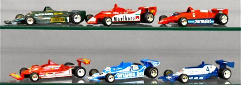 Group of six Polistil 1/41 Scale Indy cars loose