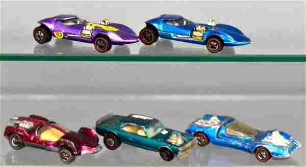 Group of five Mattel Hot Wheels Redlines loose