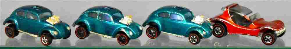 Group of four Mattel Hot Wheels Redlines loose