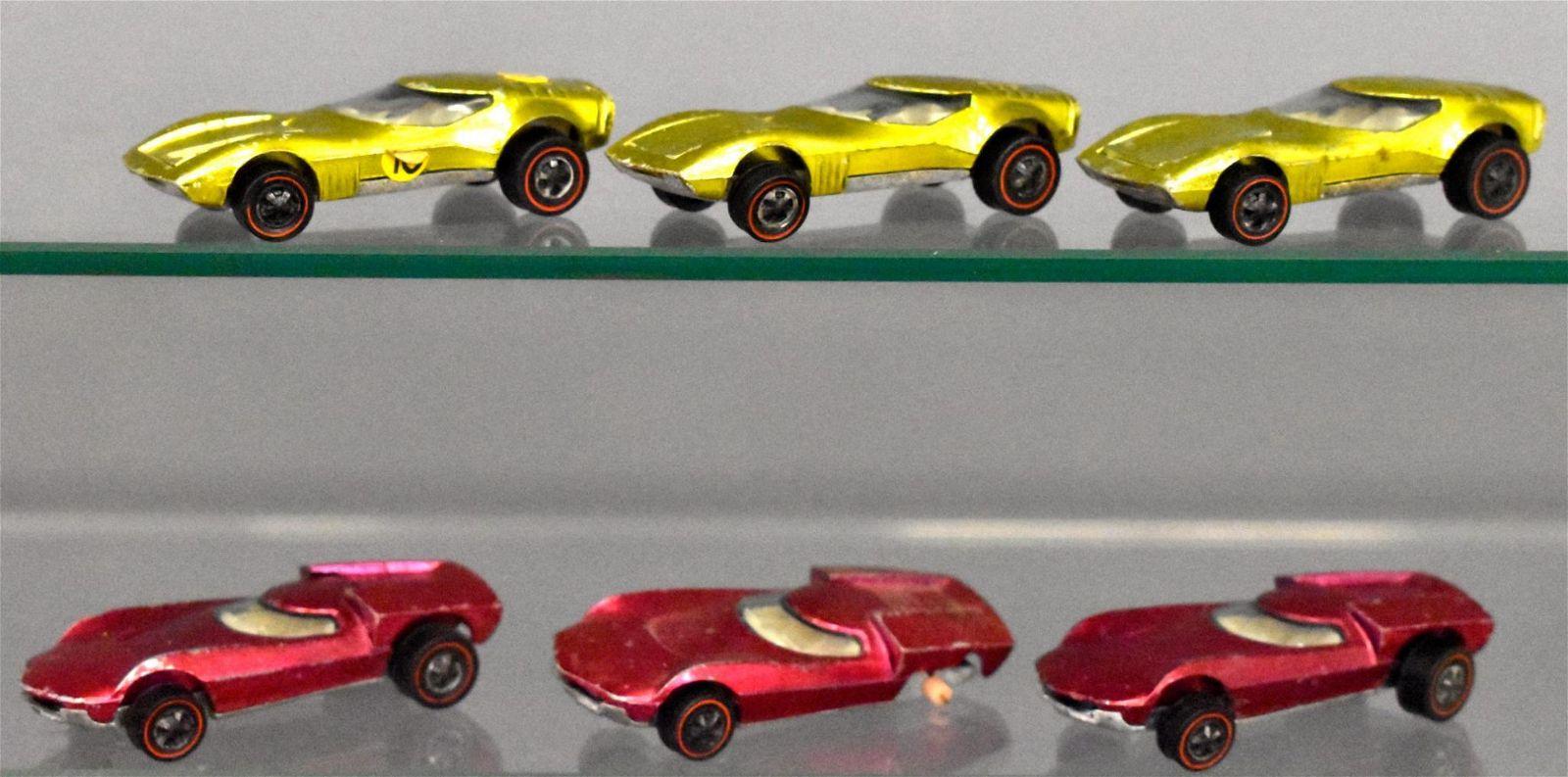 Group of six Mattel Hot Wheels Redlines loose