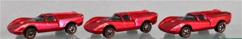 Group of 3 Rose Mattel Hot Wheels Redlines Lola GT70