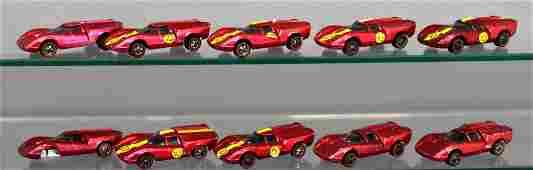 Group of ten Rose Mattel Hot Wheels Redlines Lola GT70