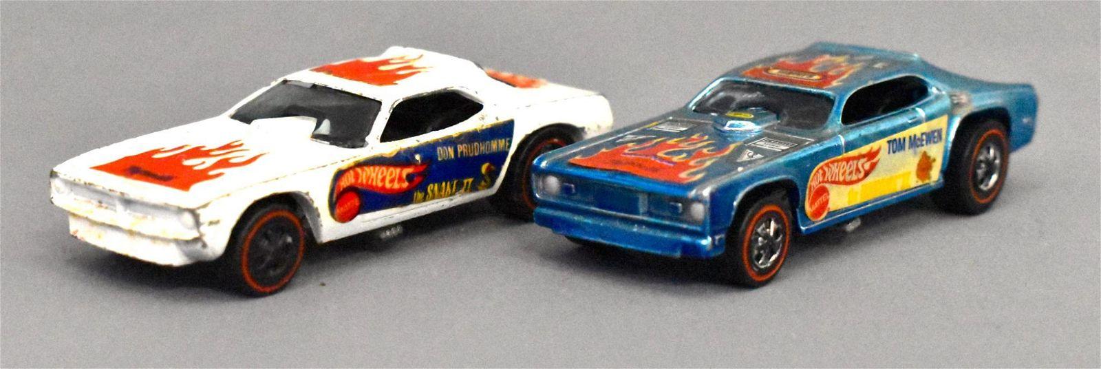 Group of two Mattel Redline Hot Wheels Snake & Mongoose