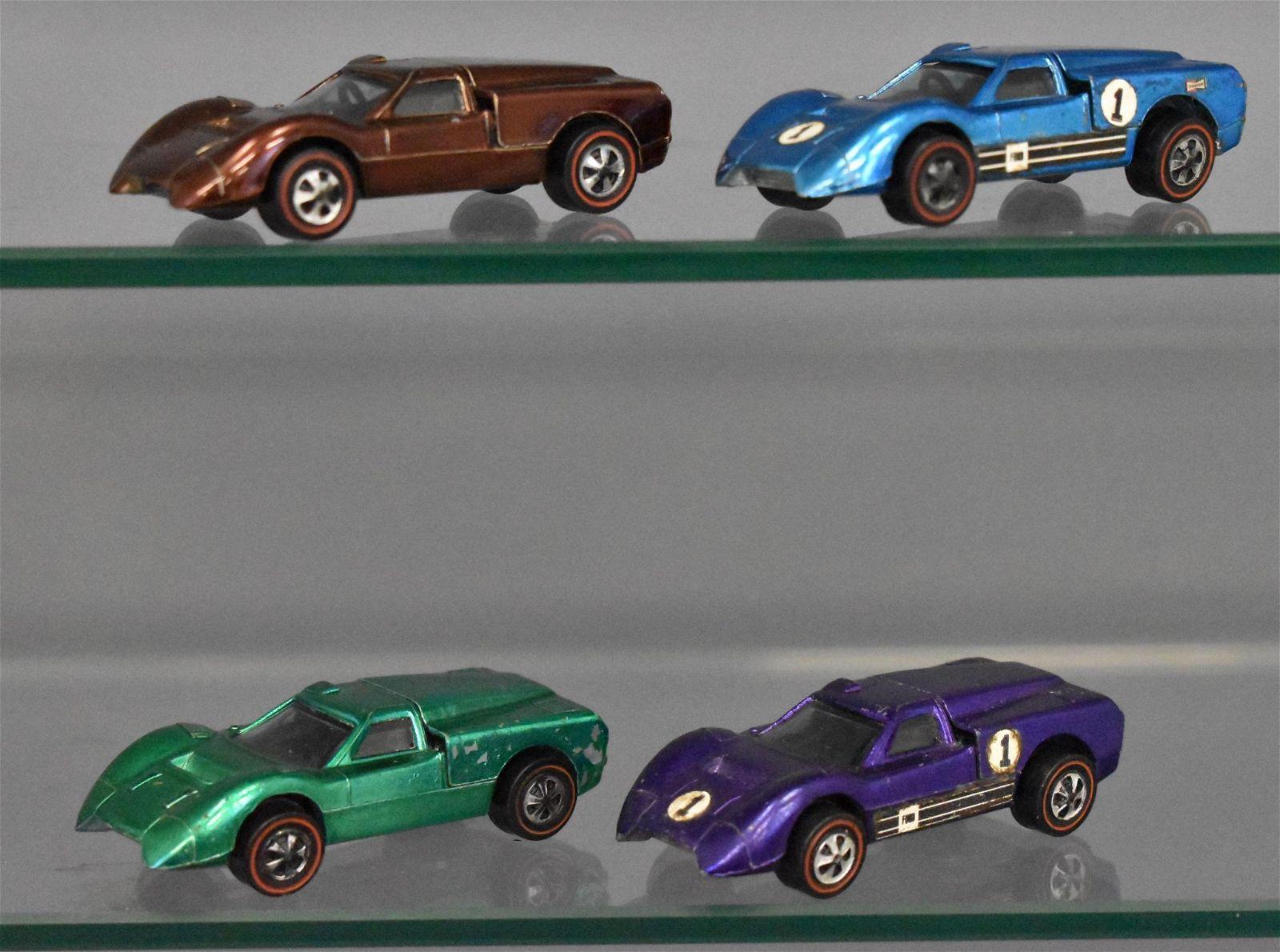 Group of four Mattel Redline Hot Wheels J cars