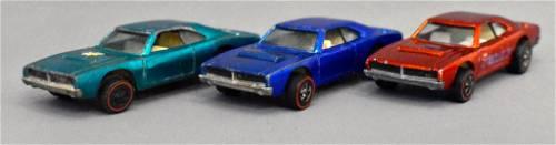 Group of three Mattel Redline Hot Wheels Custom Dodge