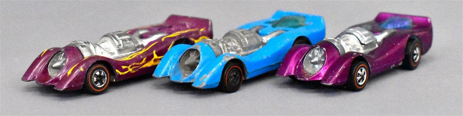Group of three Mattel Redline Hot Wheels Jet Threats
