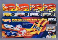 Group of five Mattel Hot Wheels Snake and Mongoose