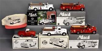 Five First Gear 1/34 die cast trucks in original boxes