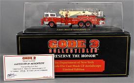 Code 3 1/64 die cast FDNY Mack CF Aerialscope w/ OB