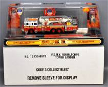 Code 3 1/64 die cast FDNY Aeralscope Tower Ladder w/ OB